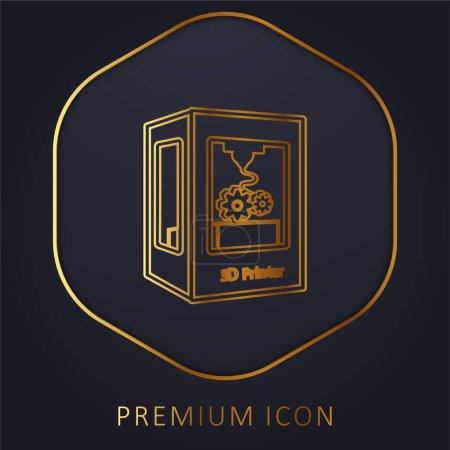 Photo pour Paramètres de l'outil d'imprimante 3d ligne dorée logo premium ou icône - image libre de droit