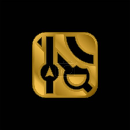 Illustration pour Icône métallique plaqué or pomme ou vecteur de logo - image libre de droit