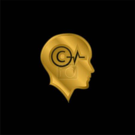 Illustration pour Tête chauve avec symbole de droit d'auteur et ligne de vie à l'intérieur plaqué or icône métallique ou vecteur de logo - image libre de droit