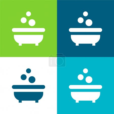 Bathtub Flat four color minimal icon set