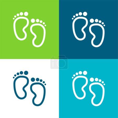 Empreintes de bébé Ensemble d'icônes minimal plat quatre couleurs