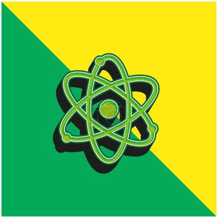 Foto de Átomo verde y amarillo moderno vector 3d icono del logotipo - Imagen libre de derechos