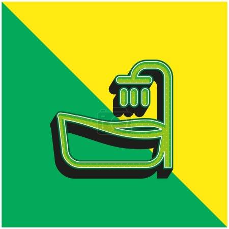 Baignoire Vert et jaune icône vectorielle 3d moderne logo