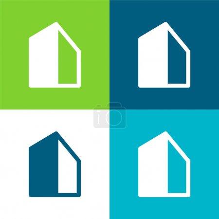 Photo pour Ensemble d'icônes minimal Big Building Flat quatre couleurs - image libre de droit