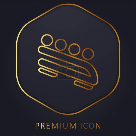 Illustration for Bobsled golden line premium logo or icon - Royalty Free Image
