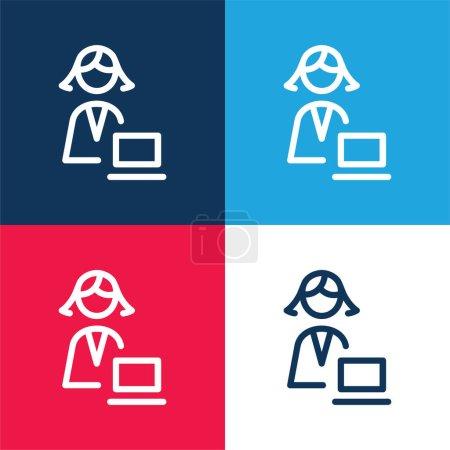 Illustration pour Ensemble d'icônes minime quatre couleurs bleu et rouge administrateur - image libre de droit