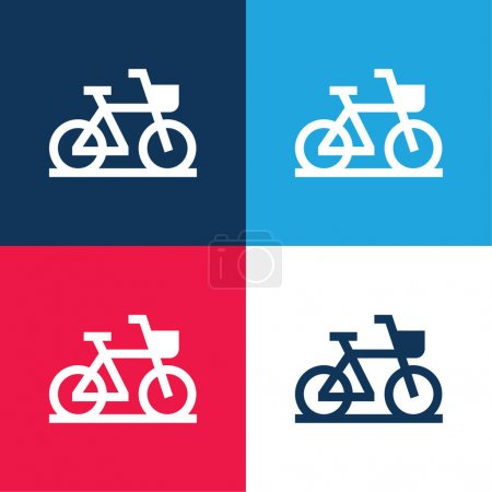 Illustration for Bike blue and red four color minimal icon set - Royalty Free Image