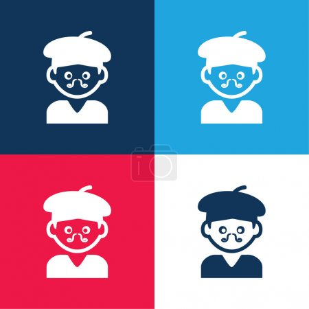 Illustration for Bohemian Artist Man With Hat And Moustache blue and red four color minimal icon set - Royalty Free Image