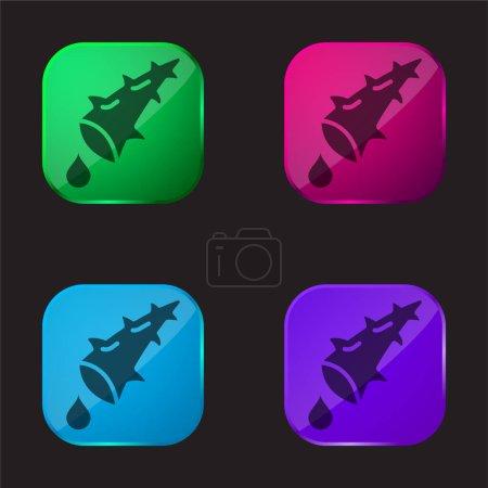 Illustration pour Aloe icône bouton en verre quatre couleurs - image libre de droit