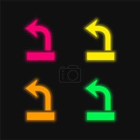 Illustration pour Flèche sur quatre couleur brillant icône vectorielle néon - image libre de droit