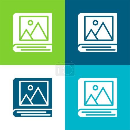 Illustration pour Album Ensemble d'icônes minimal plat quatre couleurs - image libre de droit