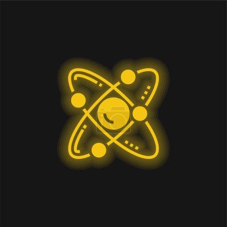 Illustration pour Icône néon jaune atome brillant - image libre de droit