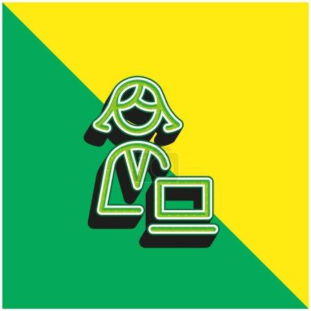 Illustration pour Administrateur Logo vectoriel 3d moderne vert et jaune - image libre de droit