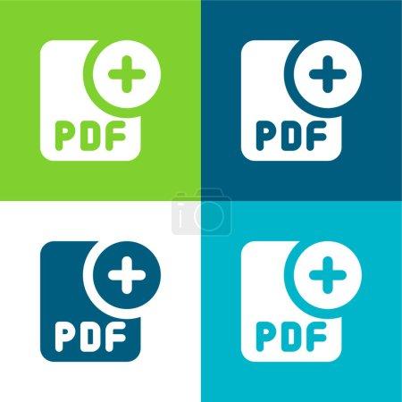 Photo pour Ajouter plat quatre couleurs minimum jeu d'icônes - image libre de droit