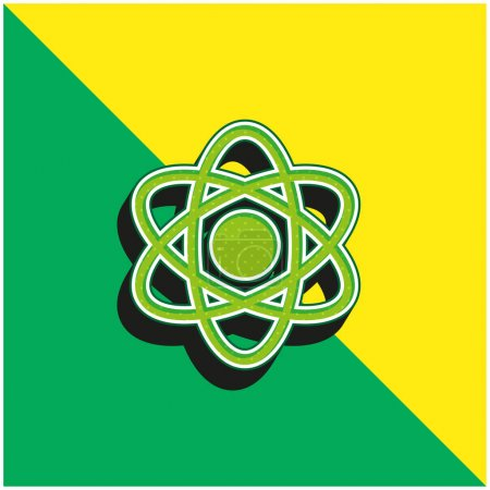 Photo for Atom Green and yellow modern 3d vector icon logo - Royalty Free Image