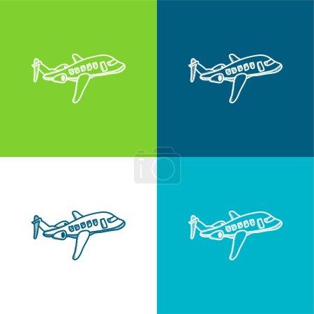 Illustration pour Avion plat quatre couleurs minimum icône ensemble - image libre de droit