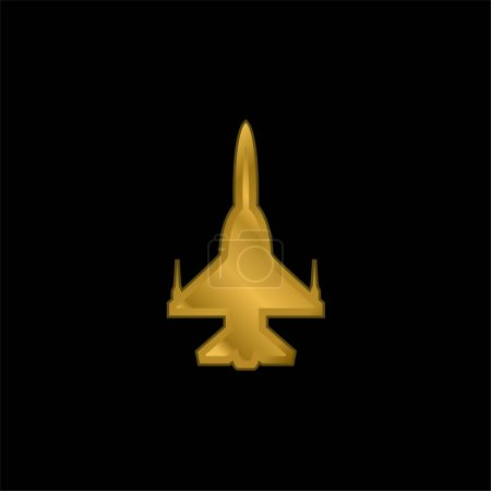 Illustration for Airplane Silhouette gold plated metalic icon or logo vector - Royalty Free Image