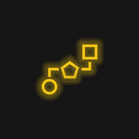 Illustration for Block Schemes Of Three Geometric Shapes Connected By Lines yellow glowing neon icon - Royalty Free Image