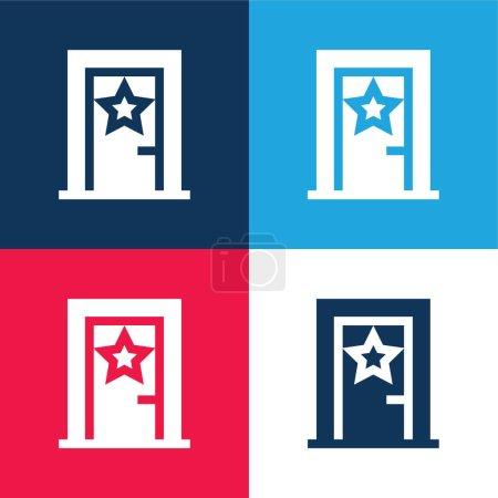 Illustration pour Ensemble d'icônes minime quatre couleurs bleu et rouge en coulisses - image libre de droit