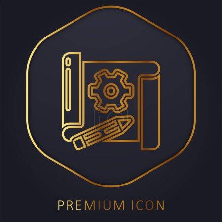 Illustration for Blueprint golden line premium logo or icon - Royalty Free Image