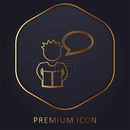 Illustration pour Garçon lecture pour la classe ligne d'or logo premium ou icône - image libre de droit
