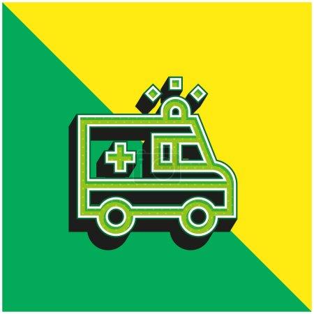 Illustration pour Ambulance Logo vectoriel 3D moderne vert et jaune - image libre de droit
