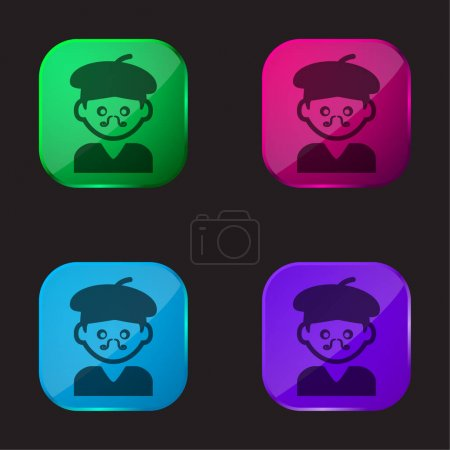 Illustration for Bohemian Artist Man With Hat And Moustache four color glass button icon - Royalty Free Image