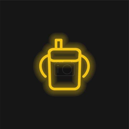 Photo pour Bébé bouteille à boire contour avec poignées latérales jaune brillant icône néon - image libre de droit