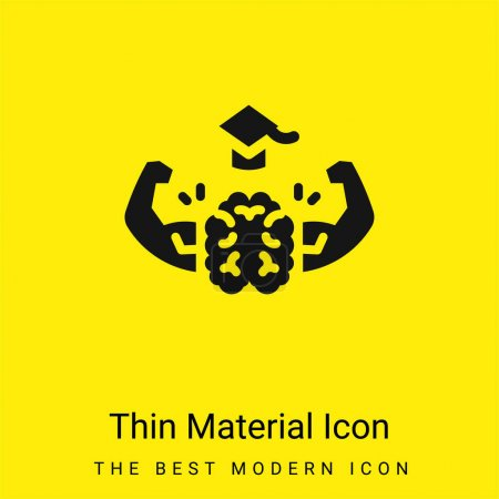 Illustration for Brain minimal bright yellow material icon - Royalty Free Image
