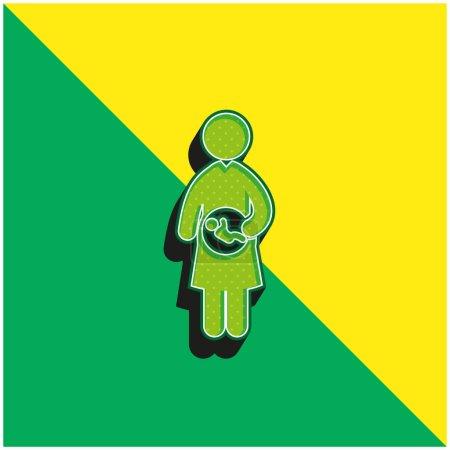 Illustration pour Bébé Dans L'utérus Mère Vert et jaune icône vectorielle 3d moderne logo - image libre de droit