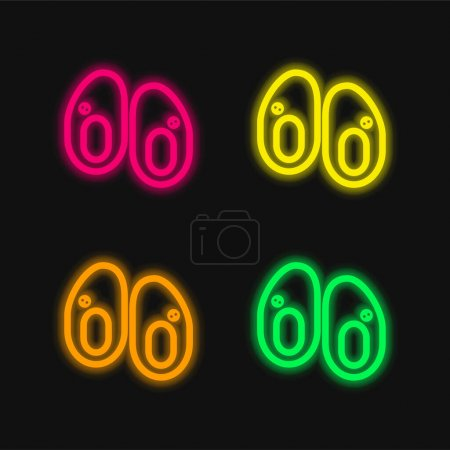 Baby Shoes four color glowing neon vector icon