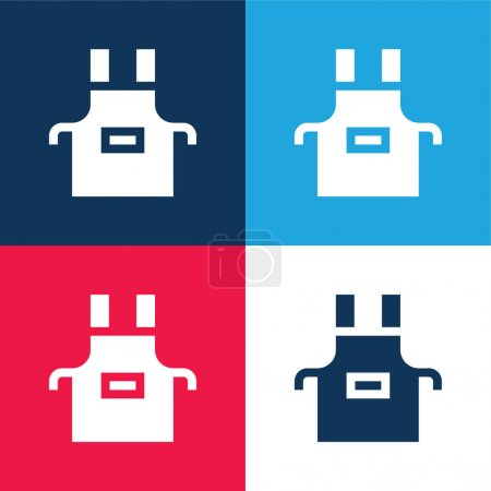 Illustration for Apron blue and red four color minimal icon set - Royalty Free Image