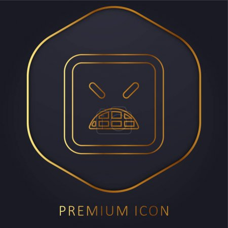 Angry Emoticon Square Face With Closed Eyes golden line premium logo or icon