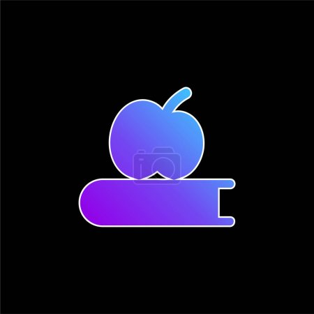 Photo for Book And Apple blue gradient vector icon - Royalty Free Image