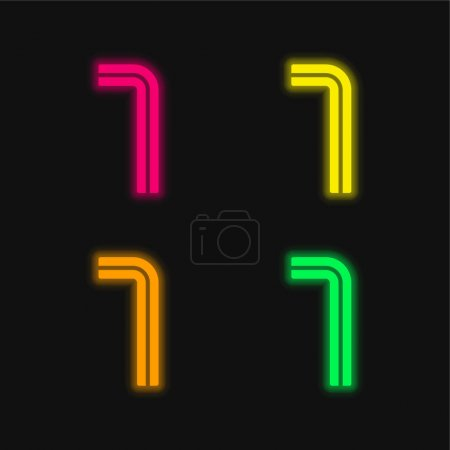 Photo for Allen four color glowing neon vector icon - Royalty Free Image