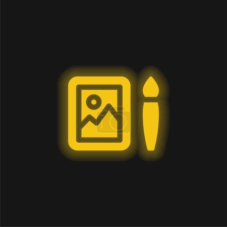 Illustration pour Art jaune brillant icône néon - image libre de droit