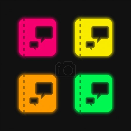 Illustration for Book four color glowing neon vector icon - Royalty Free Image