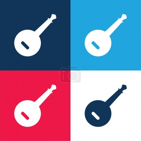 Banjo blue and red four color minimal icon set