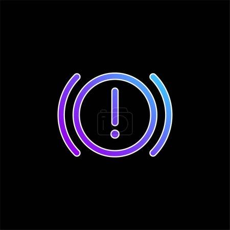 Illustration pour Avertissement du système de freinage icône vectorielle dégradée bleue - image libre de droit