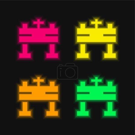 Photo pour Autel quatre couleurs brillant icône vectorielle néon - image libre de droit