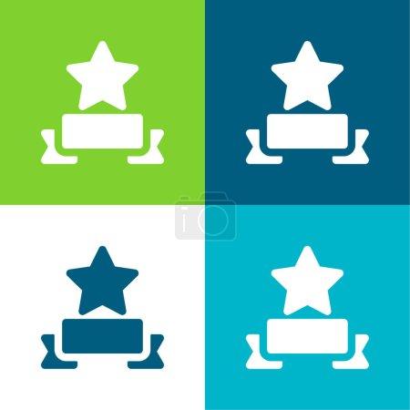 Illustration for Award Flat four color minimal icon set - Royalty Free Image