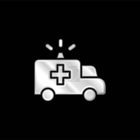 Illustration pour Icône métallique argentée Ambulance - image libre de droit