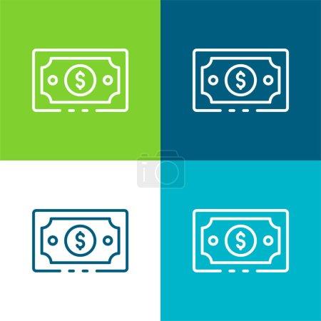 Illustration pour Billets Ensemble d'icônes minimal plat à quatre couleurs - image libre de droit