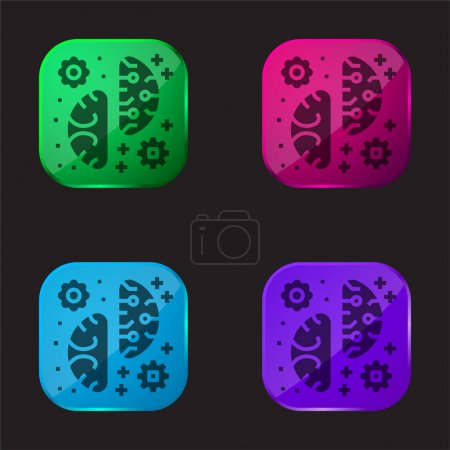 Brainstorming four color glass button icon