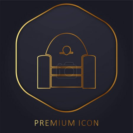 Armchair Frontal golden line premium logo or icon