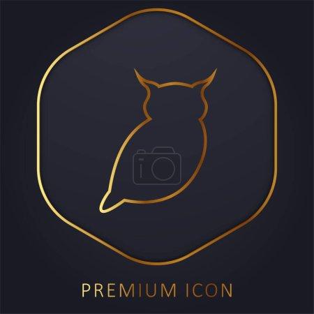 Big Owl golden line premium logo or icon
