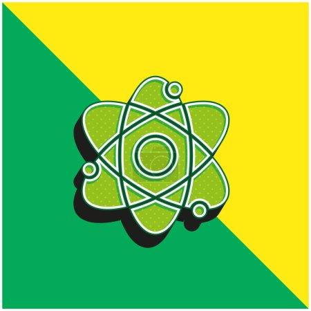 Photo pour Logo de l'icône vectorielle 3D moderne Atom Green et jaune - image libre de droit