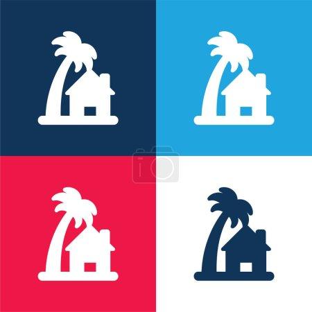 Foto de Casa de playa azul y rojo conjunto de iconos mínimo de cuatro colores - Imagen libre de derechos