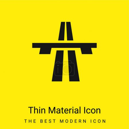 Illustration for Bridge On Avenue Perspective minimal bright yellow material icon - Royalty Free Image