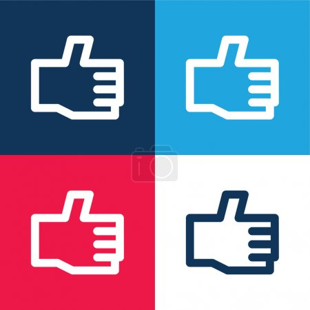 Illustration for Approve blue and red four color minimal icon set - Royalty Free Image